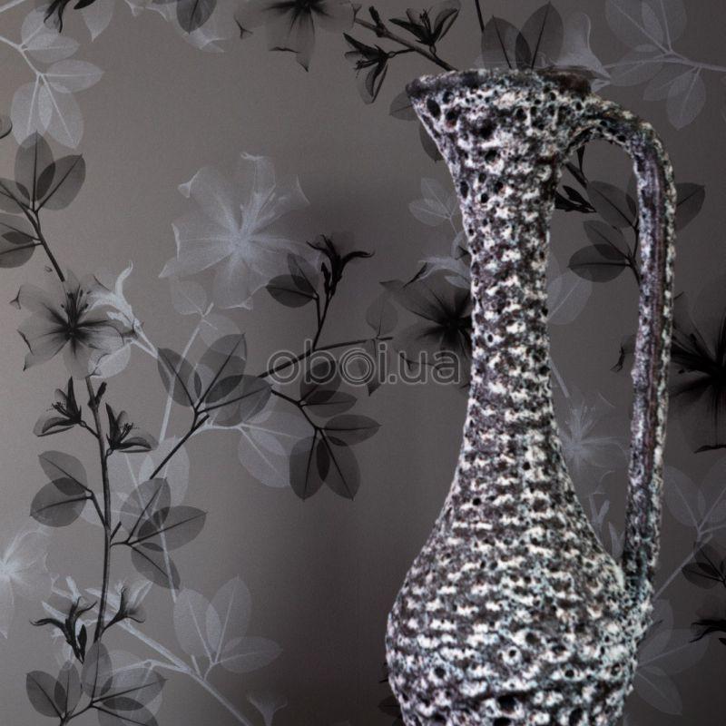 BN Glassy Black & Grey Lilly Wallpaper