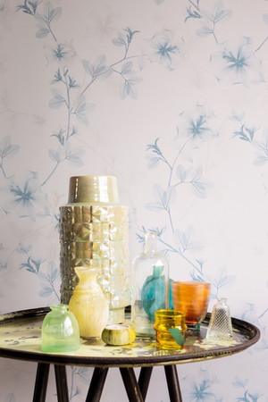 BN Glassy Wallpaper Blue Lilly on Pale Pink Background