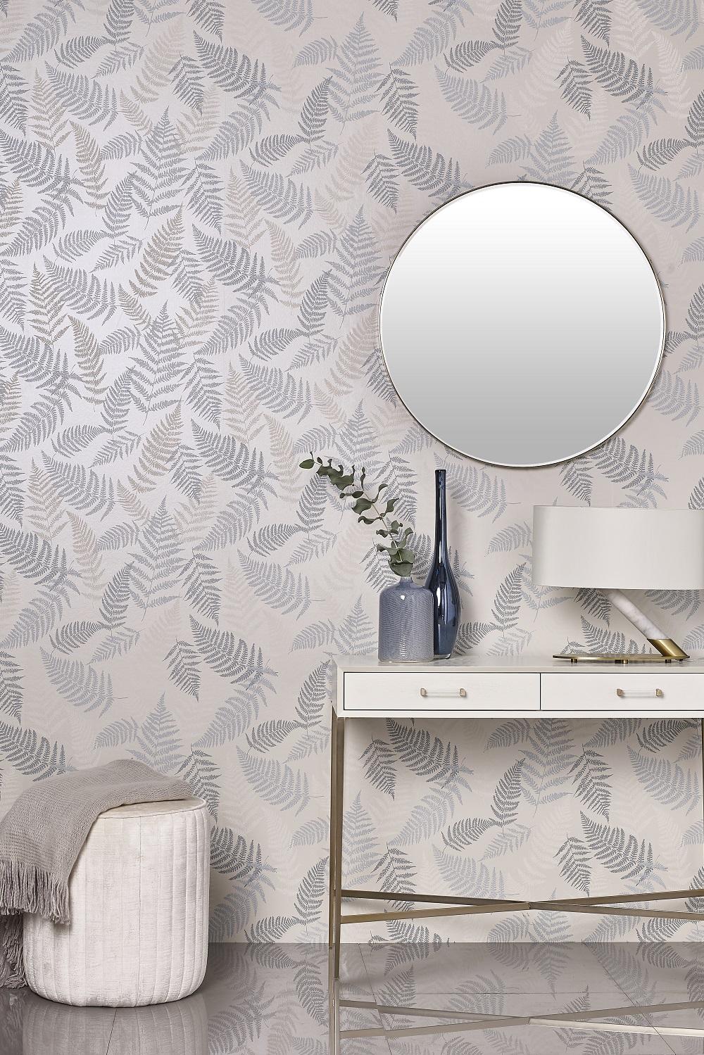 Pale Blue & Silver Fern Leaf Wallpaper