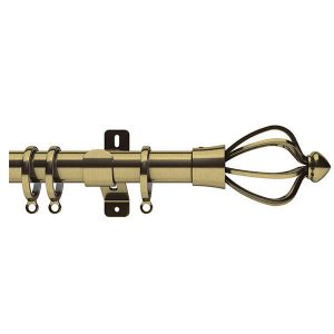 Brass Metal Curtain Pole with Brass Cage Finial, Metal Rings and Brackets
