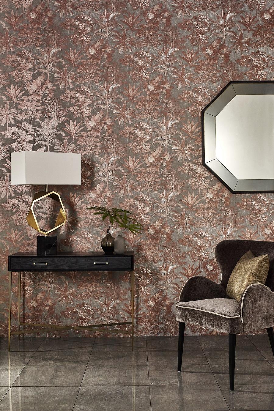 Copper Leaf Design Wallpaper