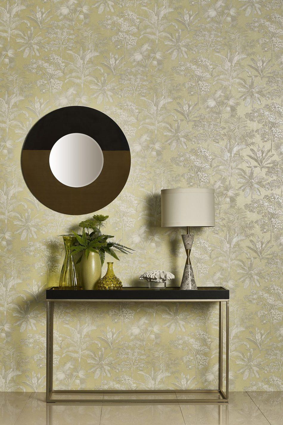 Light Green Leaf Design Wallpaper