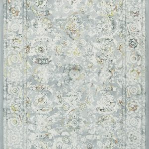 : Faded Traditional patterned rug predominantly grey with rust and blue tones