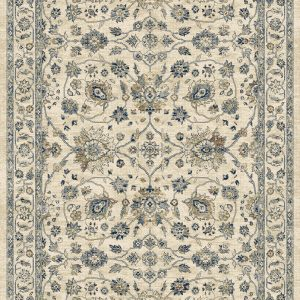 Traditional patterned rug cream background with blues, greys and browns