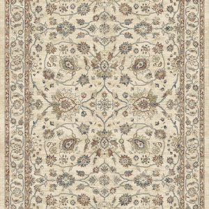Traditional patterned rug cream background with Rusts, golds, browns with a hint of blue