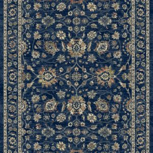 A traditional patterned rug predominantly blue in colour