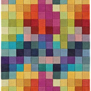 Multi coloured rug featuring 38 strong & primary colours