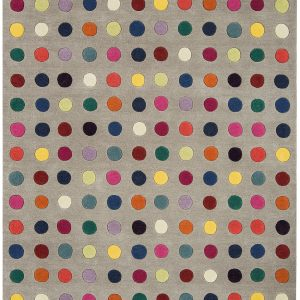 Multi coloured spots on a grey/taupe background rug