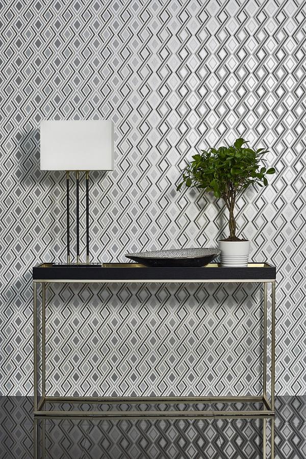 Black & Silver Geometric Wallpaper