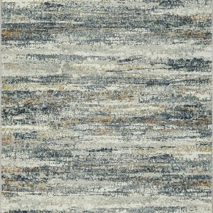 Modern rug with a blend of blue Grey Creams Golds and Rust