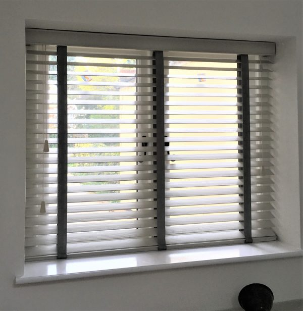 Taupe Wood Blind with Dark Grey Tapes