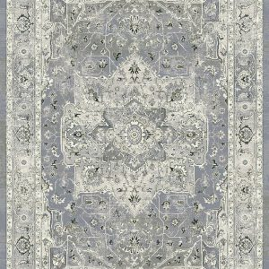 Traditional design rug with Greys and silver the main colours