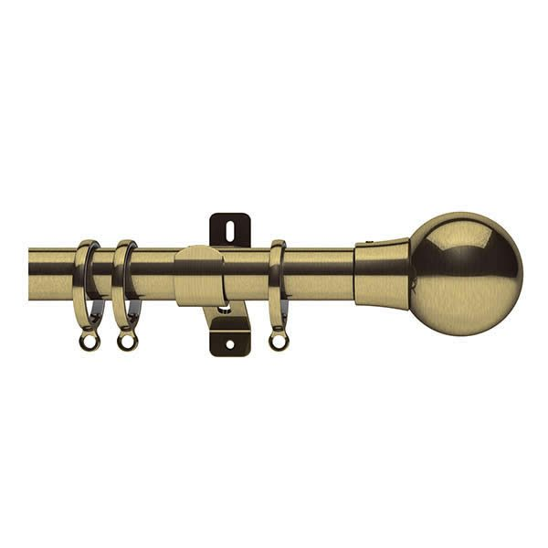 Brass Metal Curtain Pole with Brass Ball Finial, Metal Rings and Brackets