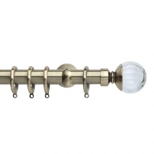 Brass Metal Curtain Pole with Pumpkin Glass Ball Finial