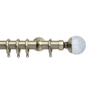 Brass Metal Curtain Pole with Cracked Glass Finial