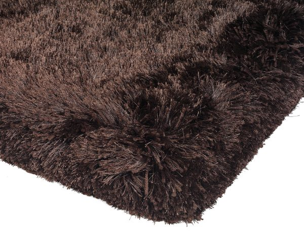 Heavy weight shaggy rug in a strong dark chocolate colour