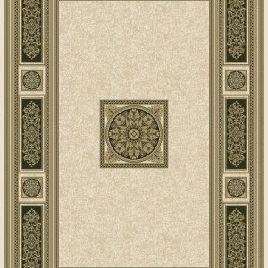 : Classic Georgian style rug ivory background with a distinctive black and gold centre panel surrounded by a border