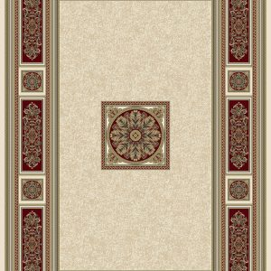 : Classic Georgian style rug ivory background with a distinctive gold/red/ivory centre panel surrounded by a border