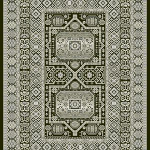 Heavily patterned traditional rug greys and silver on a black background