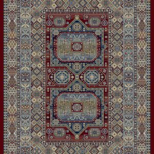 Heavily patterned traditional rug with blues creams and golds on a red background