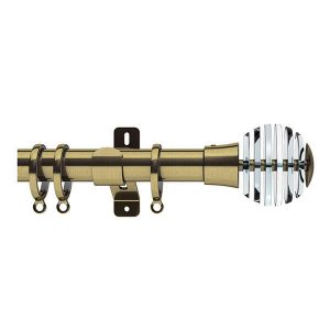 Brass Metal Curtain Pole with Sliced Ball Finial, Metal Rings and Brackets