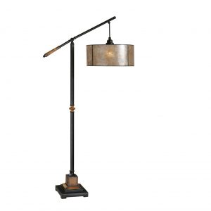 Vintage Dark Wood Floor Lamp with Antique Shade