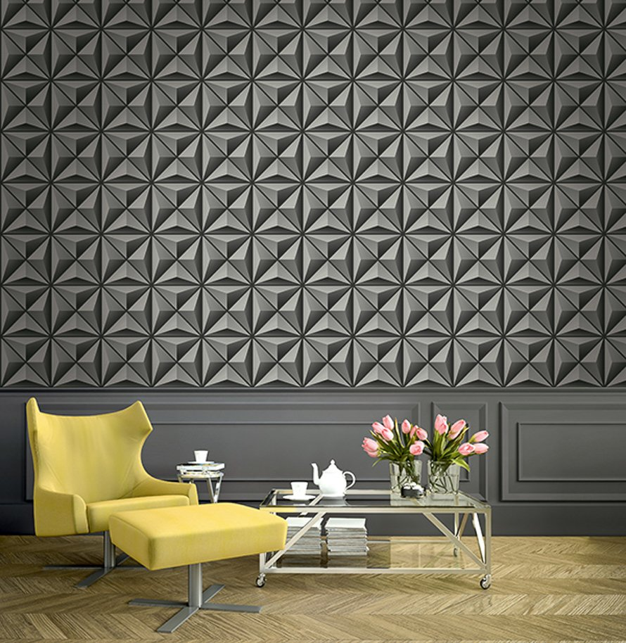 Today Interiors Wallpaper Black & Grey Geometric