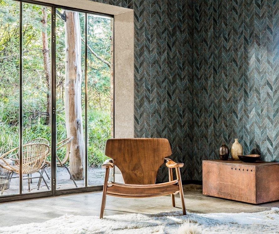 Today Interiors Wallpaper DarkGreen Herringbone