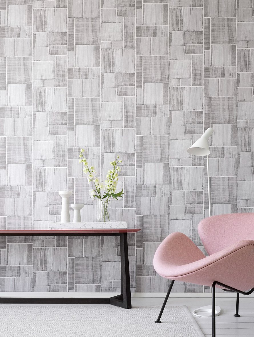 Today Interiors Wallpaper Grey Abstract Squares