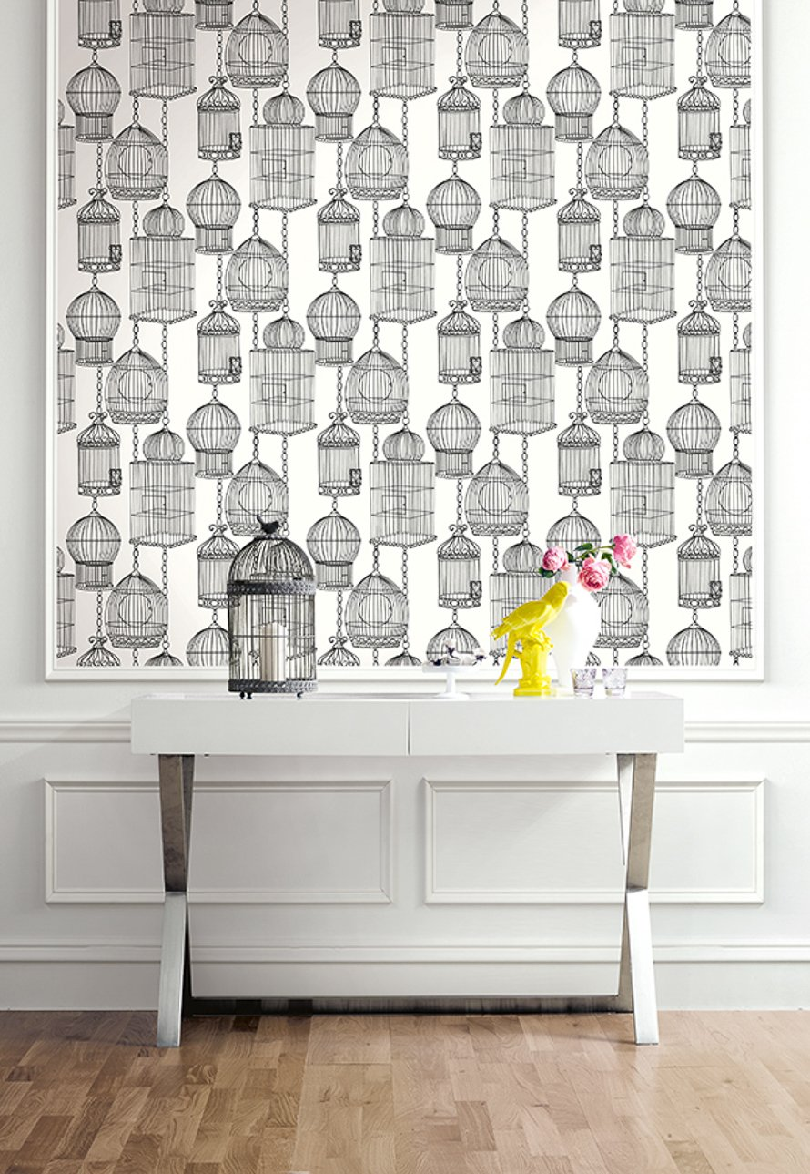 Today Interiors Wallpaper Black & White Bird Cages