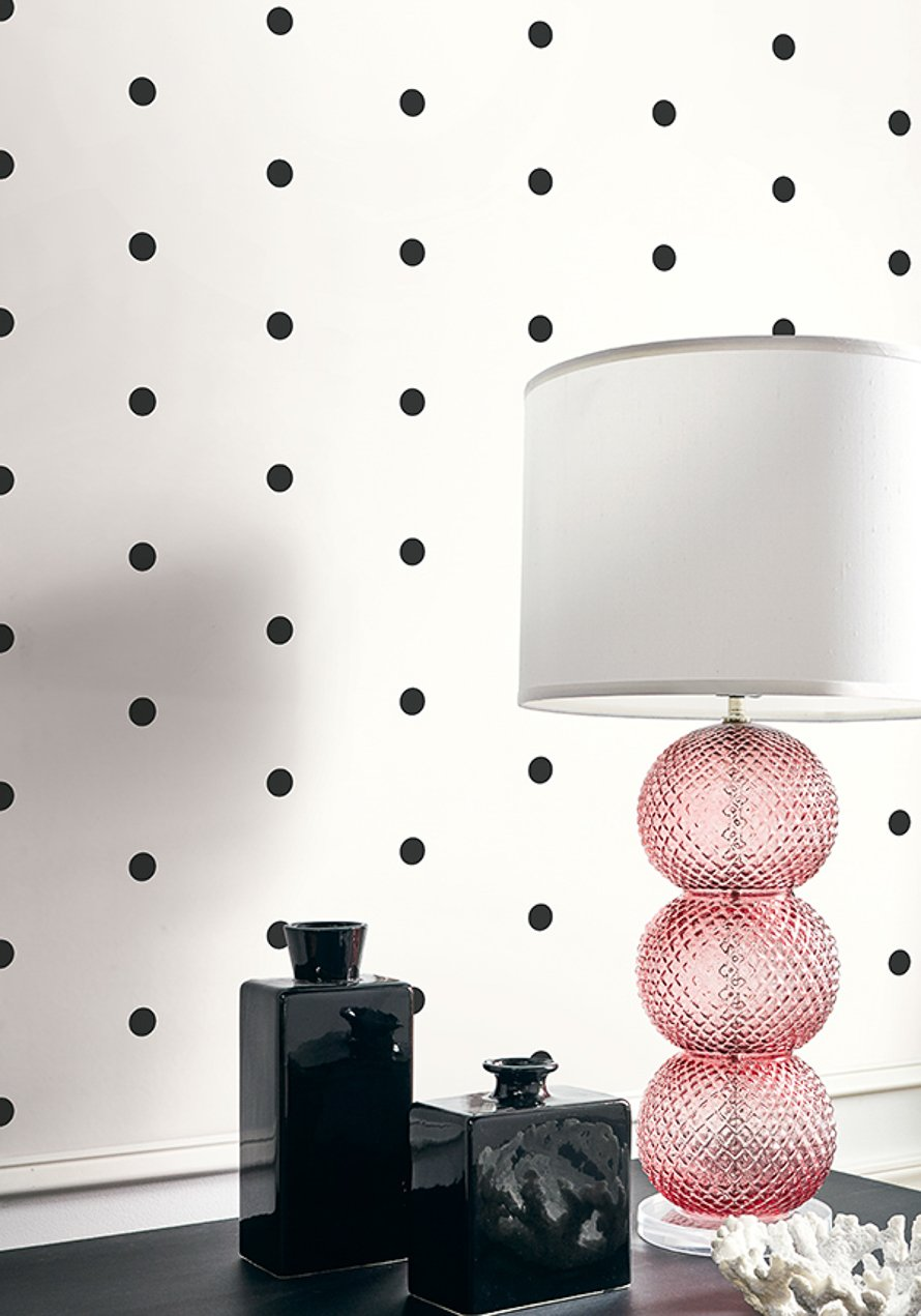 Today Interiors Wallpaper Black & White Dots