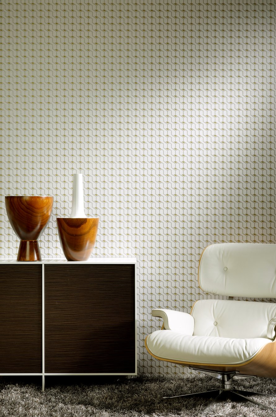 Today Interiors Wallpaper White & Gold Geometric