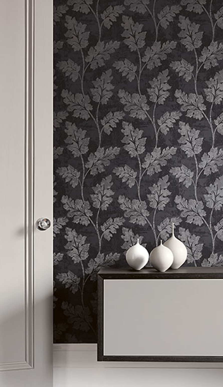Today Interiors Wallpaper Black & Grey Leaves