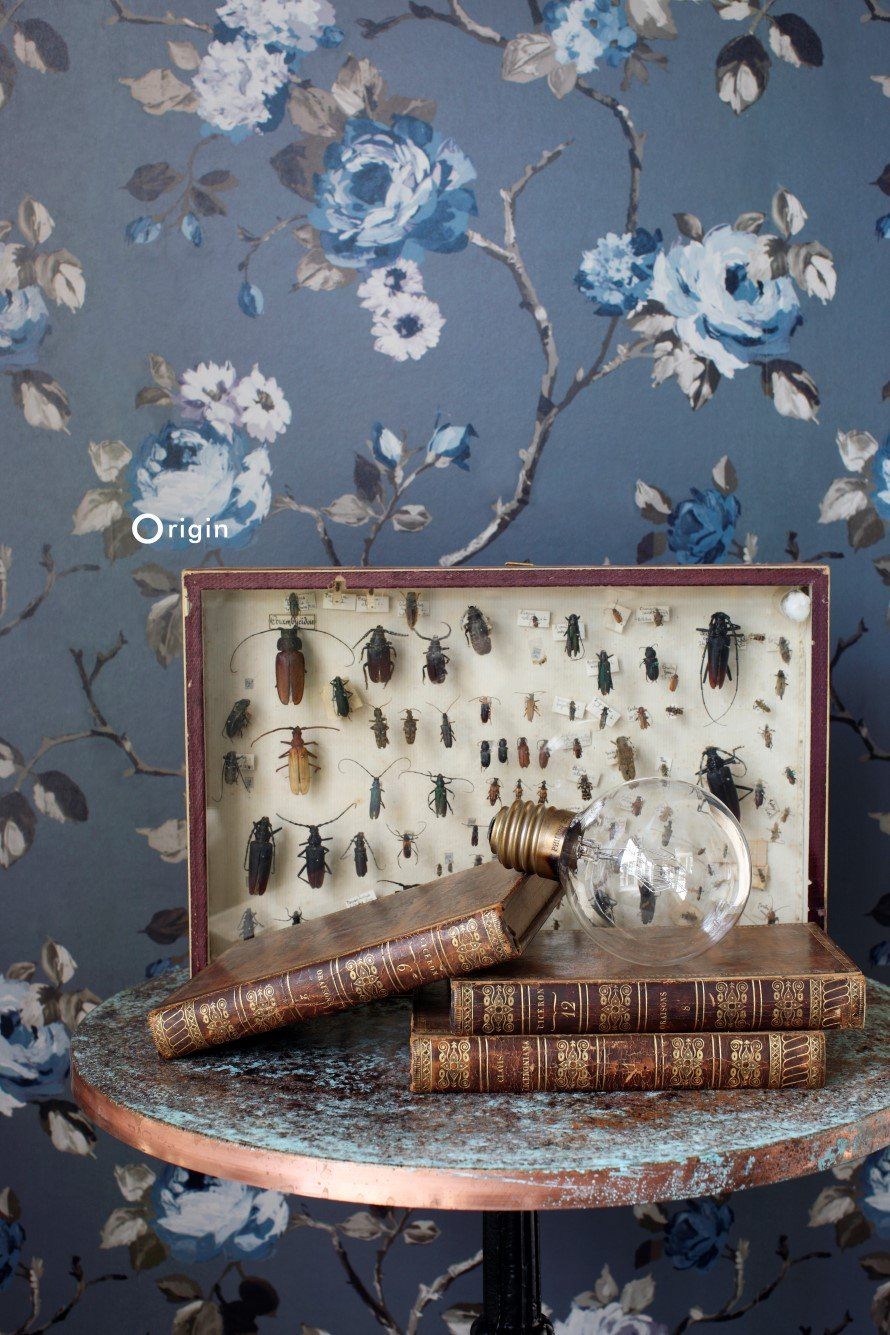 Today Interiors Wallpaper Inky Blue Traditional Floral