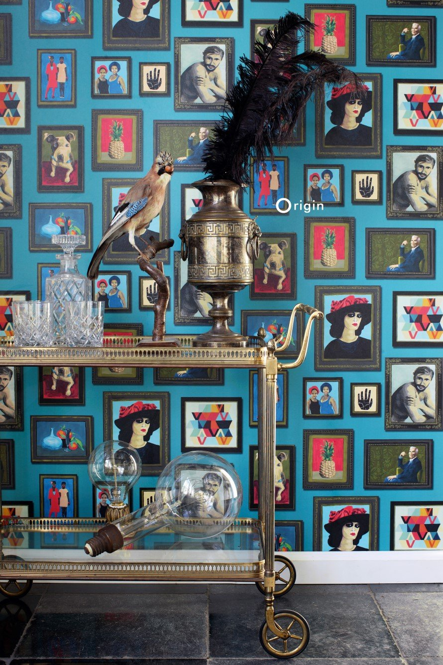 Today Interiors Wallpaper Blue Photo Frames