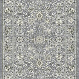 Traditional design rug dark greys/silvers, cream and blue medallions with a border on a steel blue background