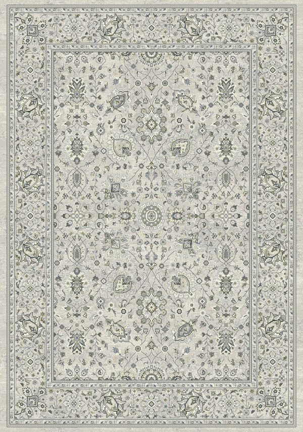Traditional design rug dark greys, cream and blue medallions with a border on a light grey background