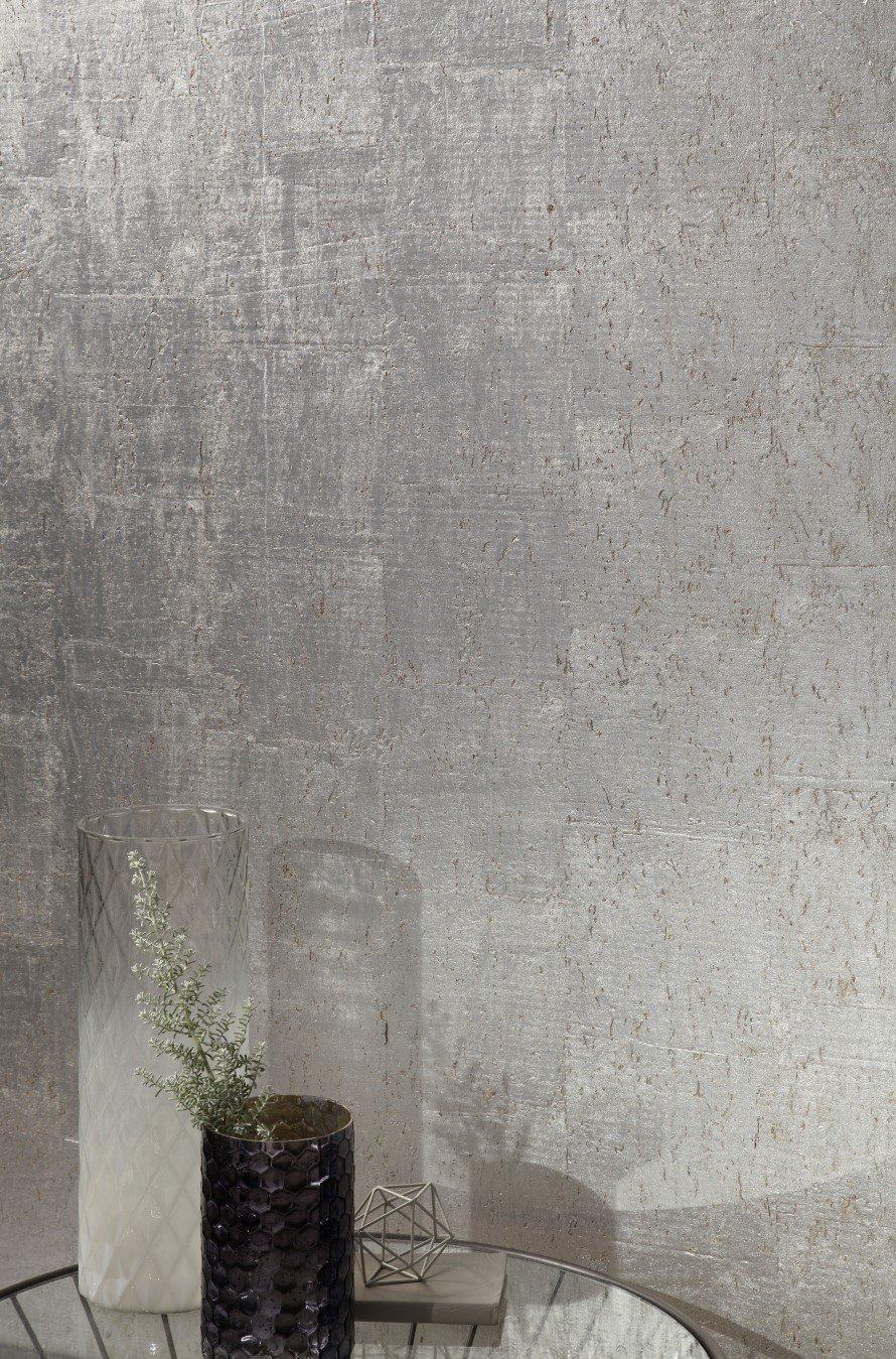 TI Zaniah Cork Silver Wallpaper