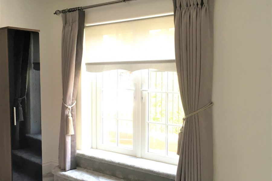 Taupe Triple Pinch Pleat Curtains with Border