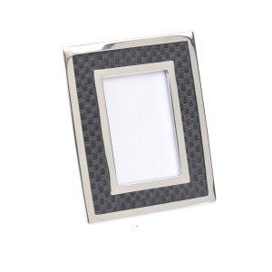 Benton Chrome & Black Rectangular Photo Frame