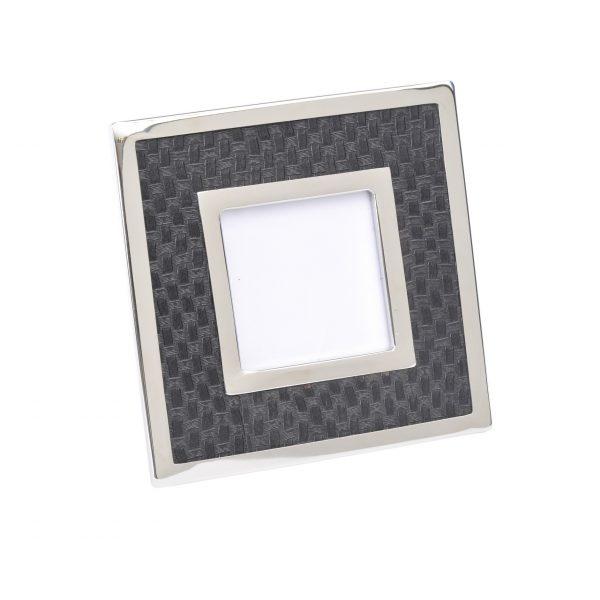 Benton Chrome & Black Square Photo Frame