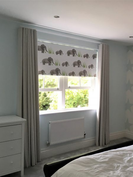 Elephant Roller Blind and Cream Wave Curtains