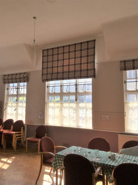 Large Checked Roman Blinds