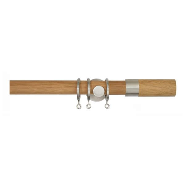 Oak Curtain Pole with Barrel Finial, Metal Rings and Brackets