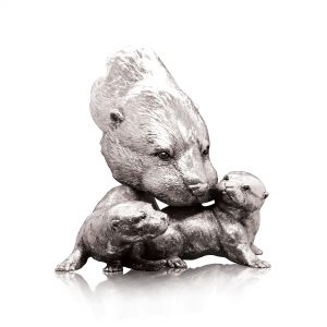 Otter & Pups Nickel Sculpture