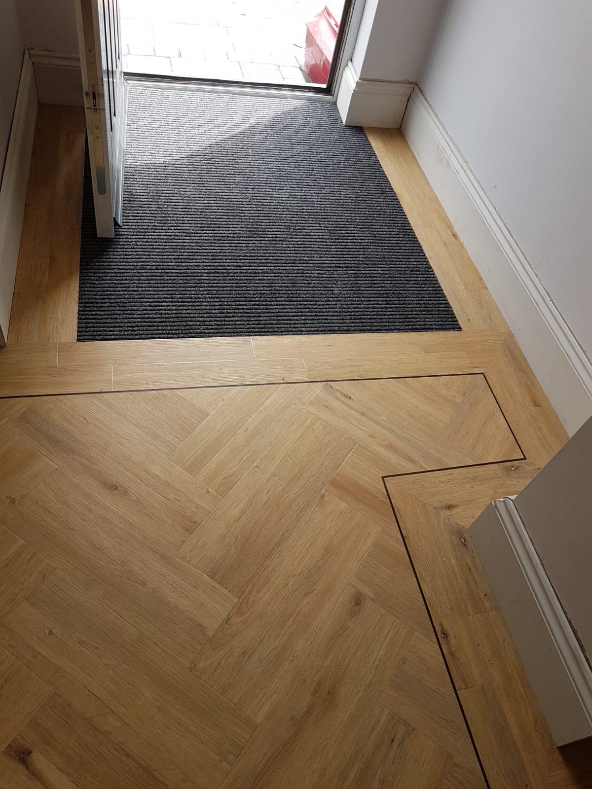 Oak Herringbone Tile with Border Strip