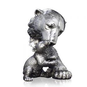 Polar Bear & Cub Nickel Sculpture