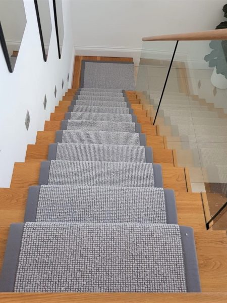 Grey Carpet Runner with Border on Oak Staircase