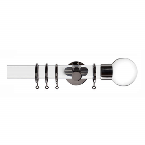 Clear Curtain Pole with Clear Ball Finial, Metal Rings and Brackets