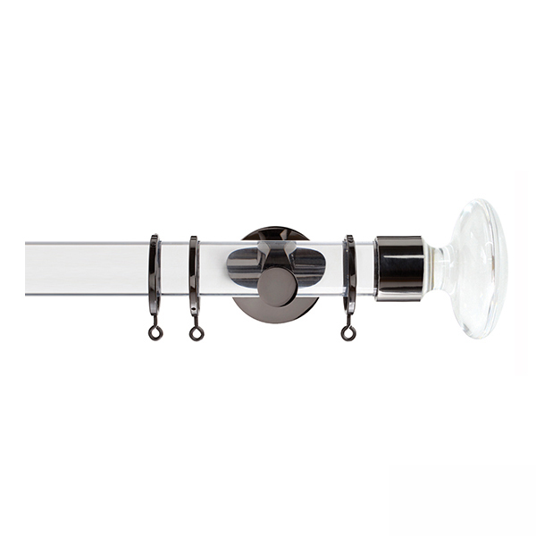 Clear Curtain Pole with Clear Disc Finial, Metal Rings and Brackets